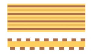 Rigid flex PCB assembly staggered flex traces