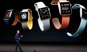 Jeff Williams discusses the Apple Watch Series 2 during an Apple media event in San Francisco.