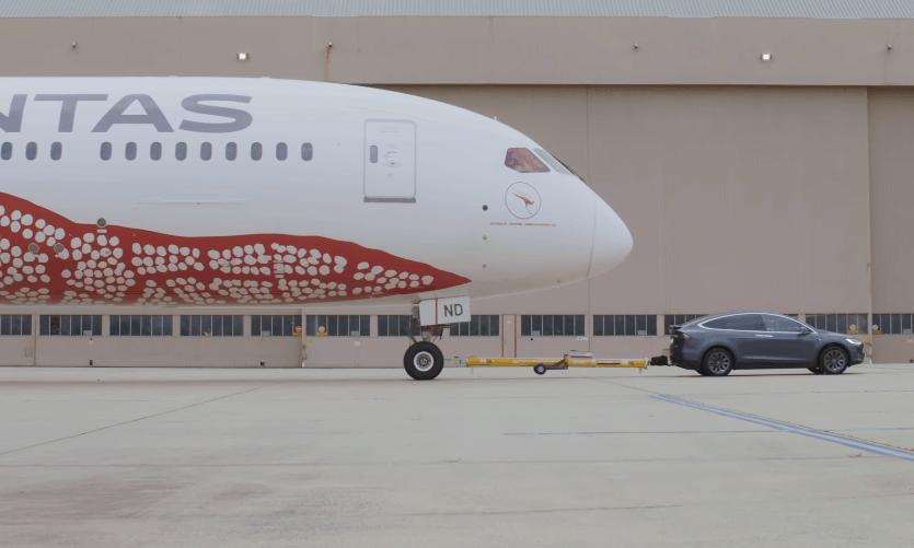 Tesla Model X Qantas Dreamliner