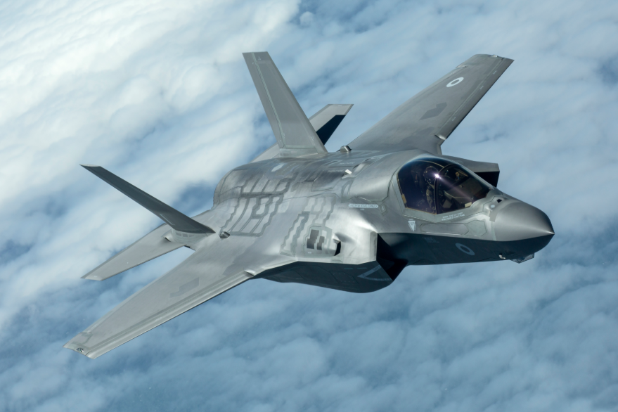 Lockheed Martin F-35B flying through the blue sky