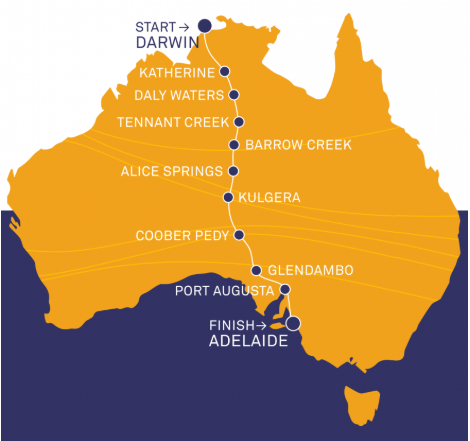 Bridgestone World Solar Challenge Route Map