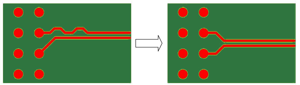 Symmetrical Breakout of Differential Pairs in high speed circuits