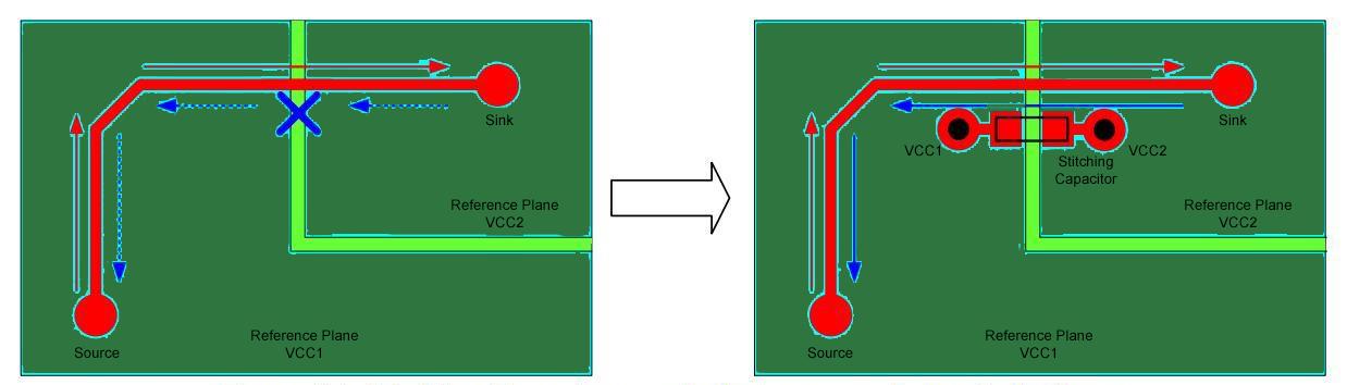 Stitching Capacitors Over Split Planes