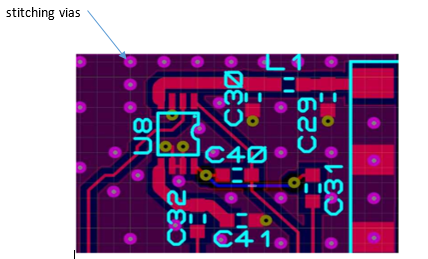 PCB showing vias for stitching ground planes