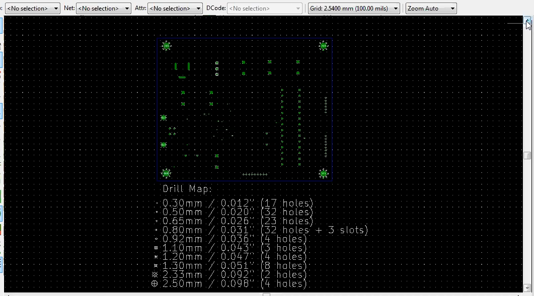Drill file opened in KiCad GerbView, showing drill map of a PCB