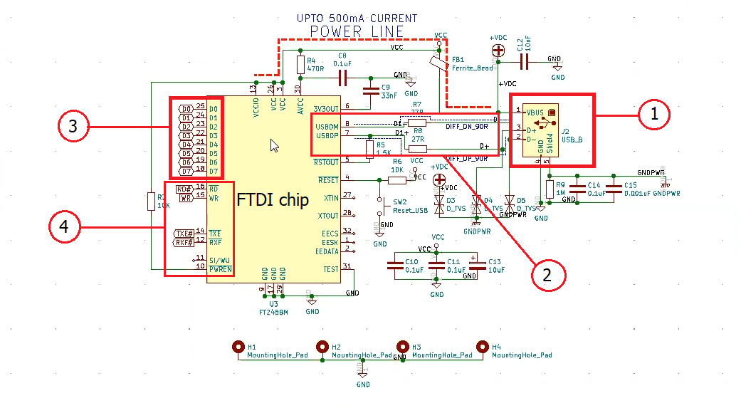 USB connector circuit in schematic