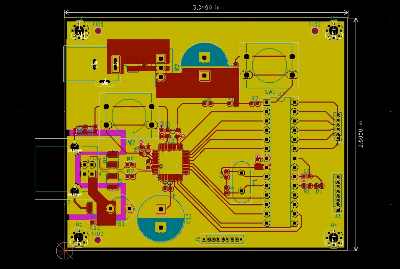 Complete routed circuit in kicad