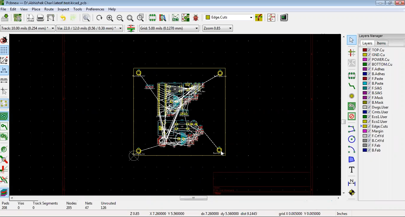 Place mounting holes in Kicad
