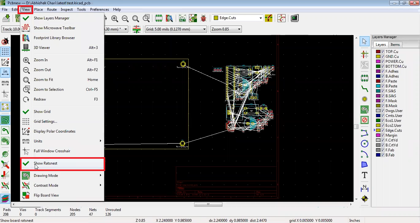 Disable wiring in Kicad