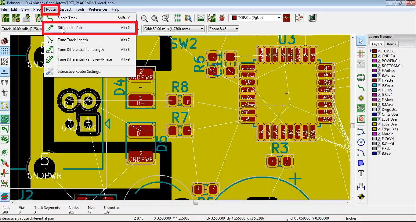 How to route differential pair in Kicad