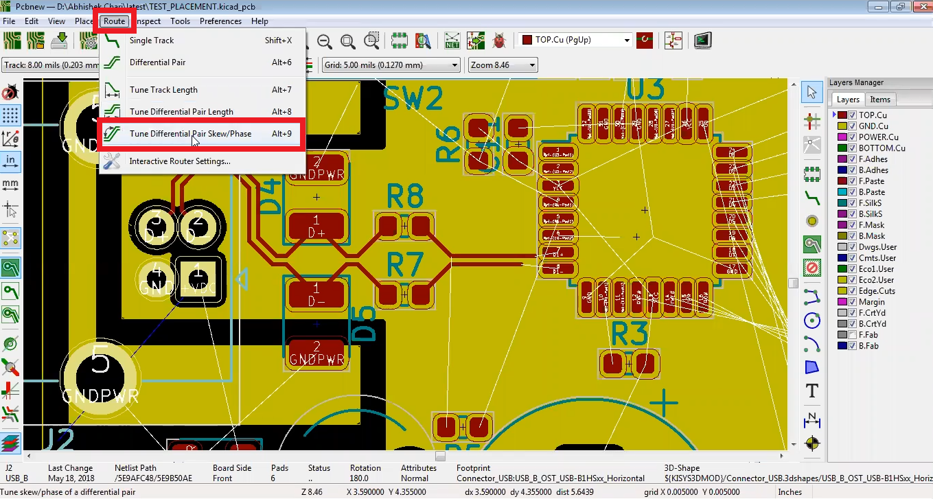 How to do differential pair length tuning in Kicad