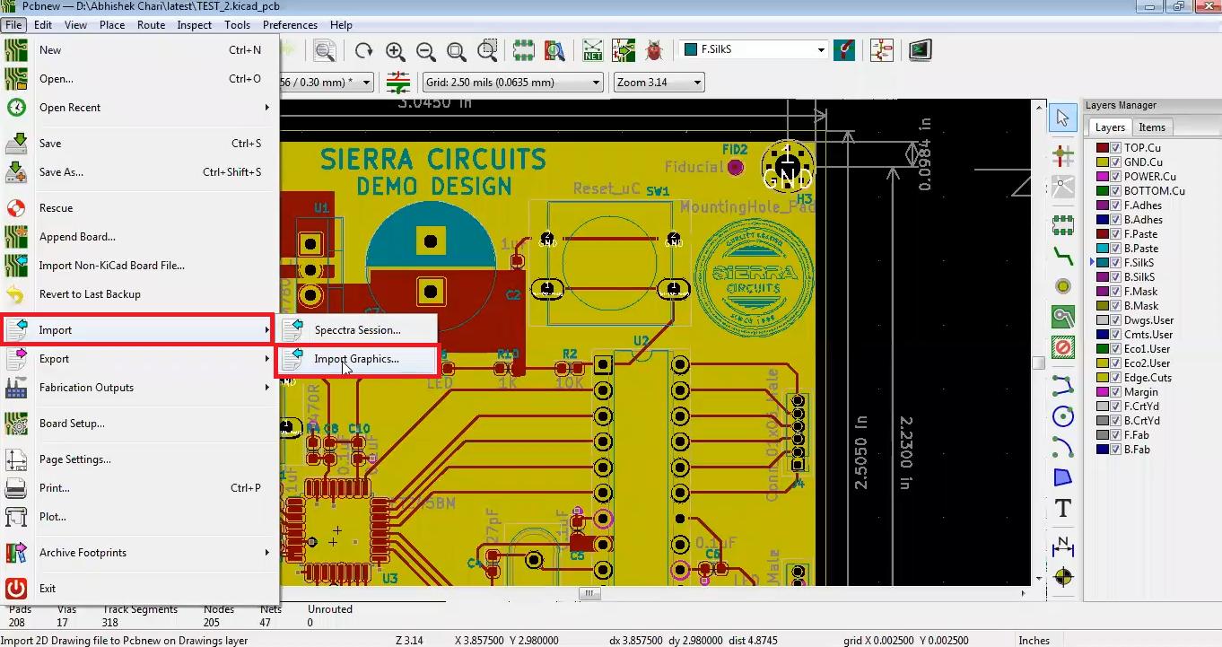 How to import Logo onto PCB design using kicad