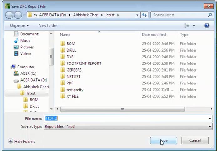 KiCad Saving Report File