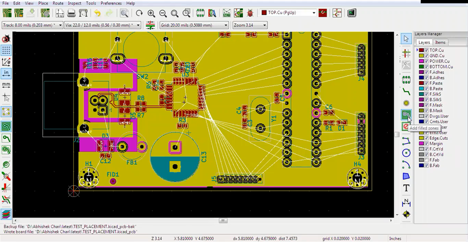 KiCad Add Filled Zones