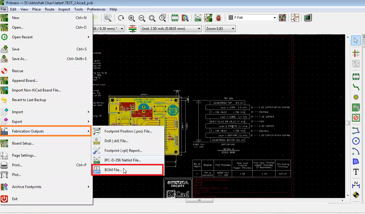 How to create BOM in kicad