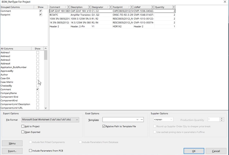 how to configure bom settings in altium