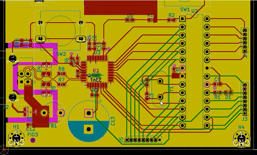 KiCad Bottom Layers designated in Green