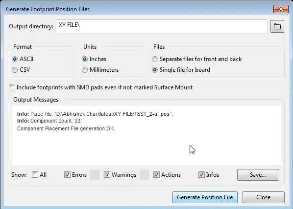 Generate pick and place files in kicad