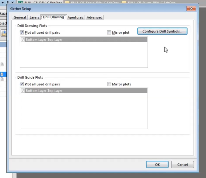 How to do drill drawing tab setting to export gerber in altium