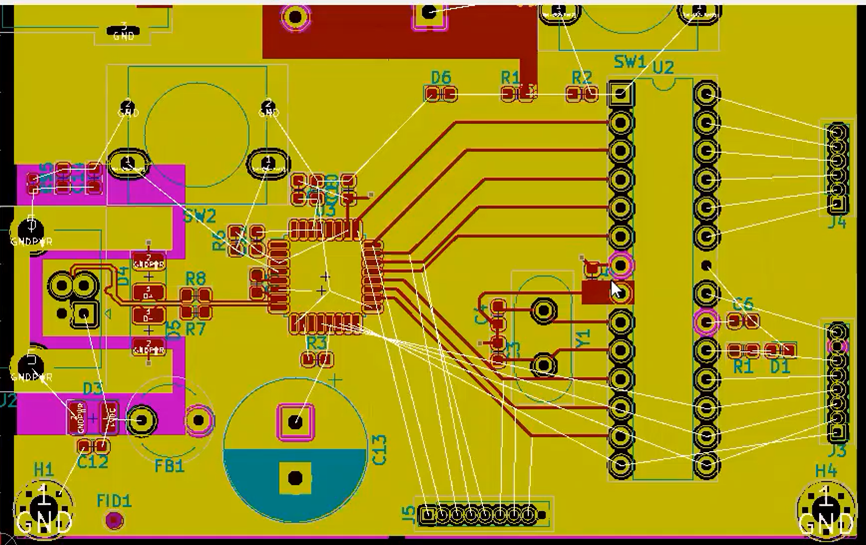 KiCad Main Pins after routing connections