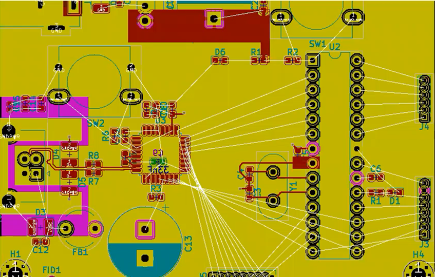 KiCad Main Pins before routing connections