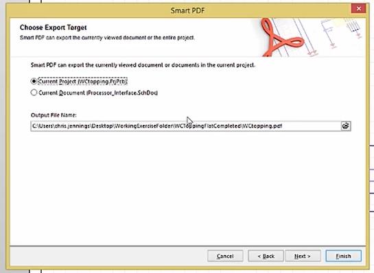 How to choose location to export pdf in altium smartPDF