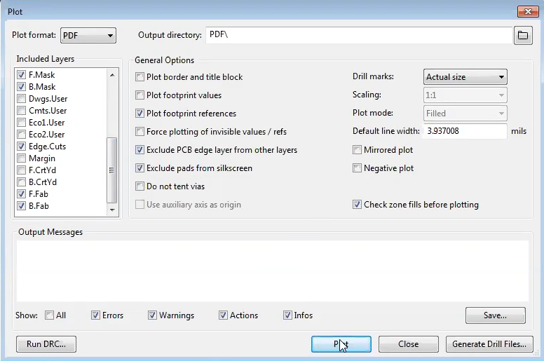 How to generate PDF in kicad