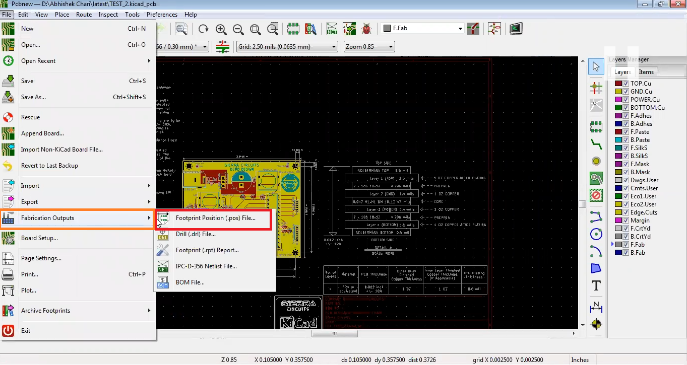 How to generate Pick and Place files in kicad
