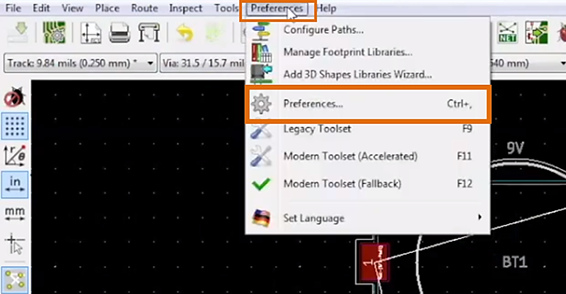 KiCad Preferences Menu Zoomed in