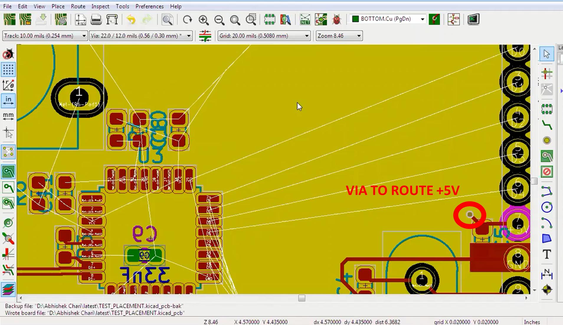 KiCad Via to route +5V