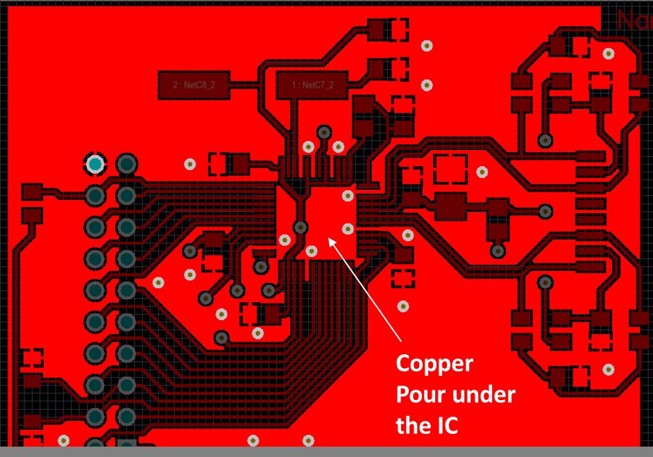 Copper pour under an IC