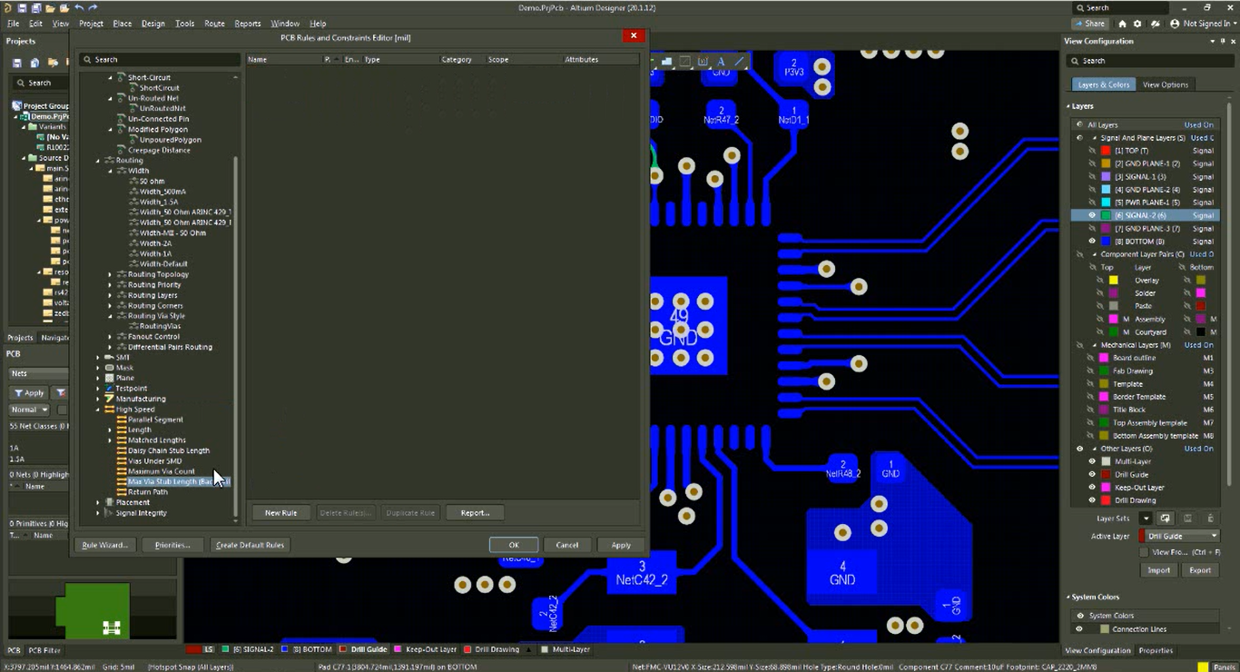 PCB Rules and Constraints Editor
