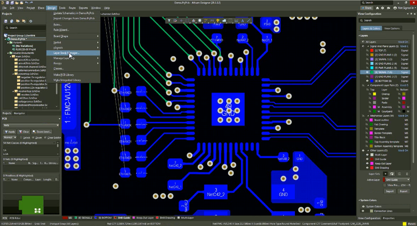 Layer Stack Manager for PCB back drilling