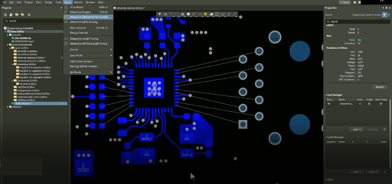 Interactive differential pair routing in Altium