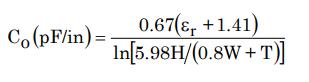 Capacitance of a microstrip line in a pcb