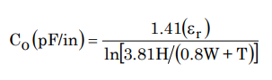 Characteristic capacitance of a stripline
