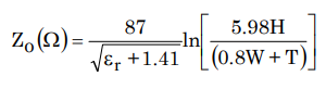 Characteristic impedance of a microstrip line