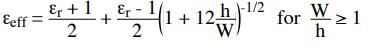 Effective dielectric constant formula