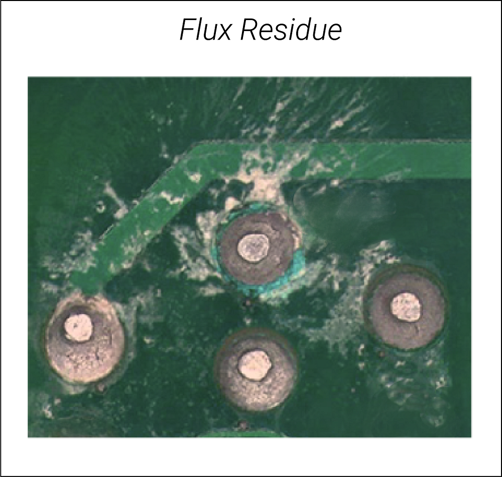Flux residues responsible for ionic contamination