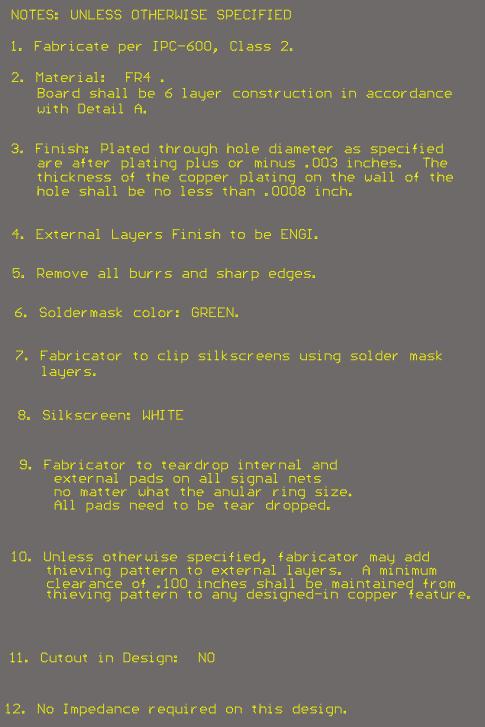 PCB fab notes