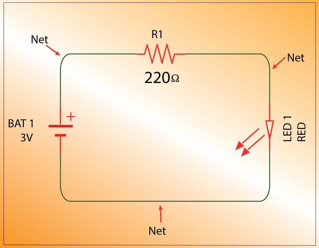 Nets in a basic circuit diagram