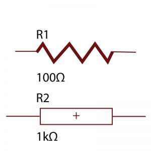 Resistor symbols used in schematic design