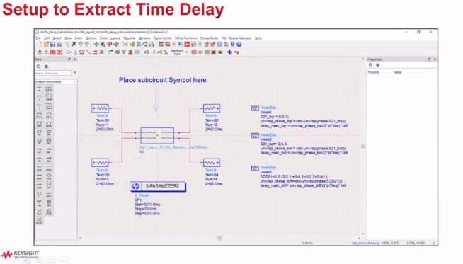 Setup to extract the time delay for signal integrity analysis