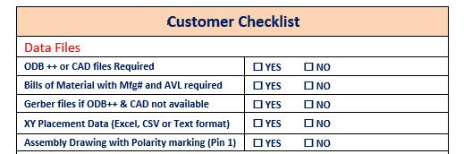 Bill of materials customer checklist