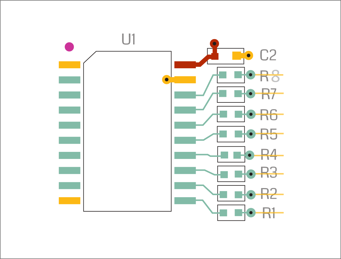 Alternate routing of capacitors.