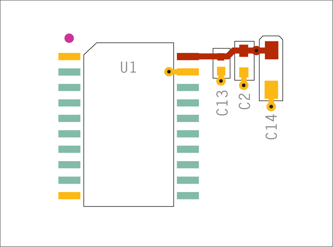 Decoupling capacitor placement in ascending order.