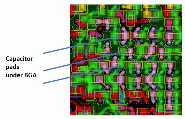 Decoupling capacitor placement on the opposite side of the BGA.