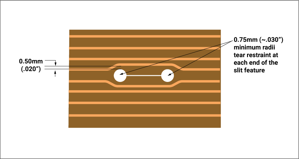 Incorporating slit features within the flex circuit